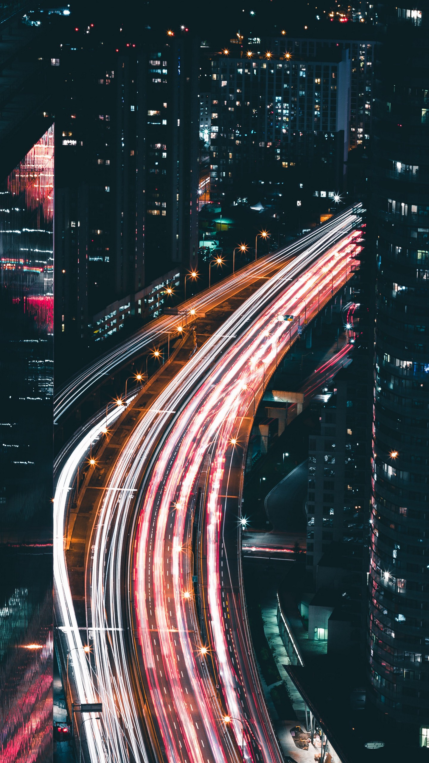 Обои сверху, дороги, Объединённые арабские эмираты, ночь. Города foto 14